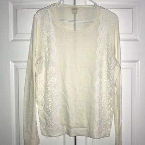 LAST CHANCE!!! J. Crew Sweater with Floral Lace